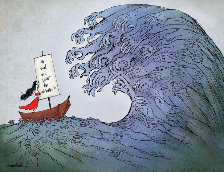 كاريكاتير رسمته دعاء العدل على موقع جريدة المصري اليوم.
