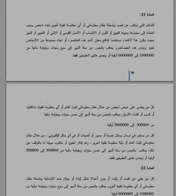 Ein Bild von einer Gruppe von den Paragraphen, die mit den Internetverbrechen zusammenhängen. Der Aktivist Hamid Walid Mahmud veröffentlichte sie