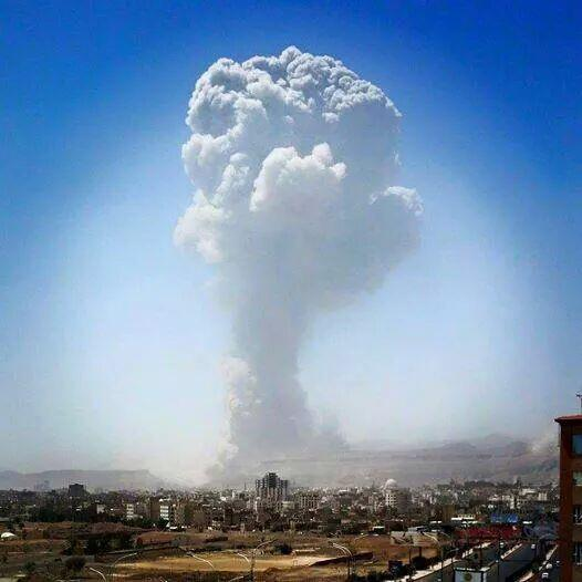 أكبر غارة جوية ضربت اليمن 20 نيسان/ابريل 2015.