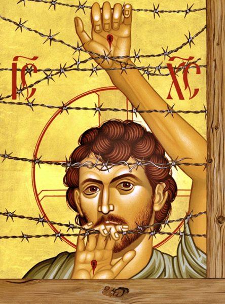 """لوحة بيد روبيرت لينتز عنوانها """"مسيح مارينول"""" ومعروفة أيضاً ك""""يسوع اللاجئ"""""""